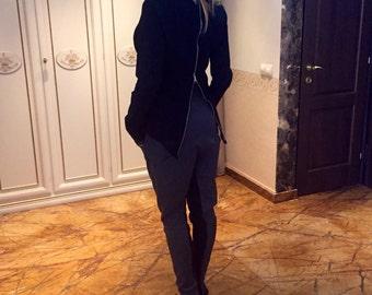 Jacket/black jacket/cashmere jacket/extravagant jacket/coat/black coat