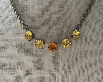 Topaz Crystal Necklace, Light Topaz Crystal Necklace, Brass Oxide Necklace