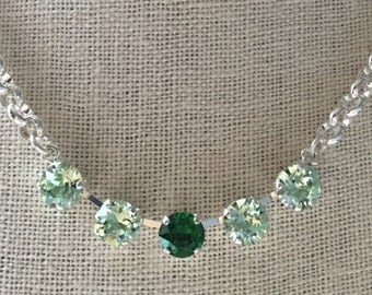 Chrysolite Crystal Necklace, Green Crystal Necklace, Dark Green Crystal Necklace