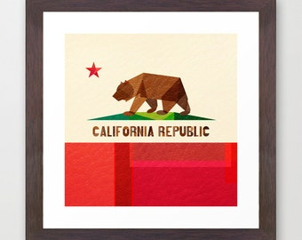 California Flag art print - wall art - Cali - Socal - Norcal - The Golden State - California Republic - Collage