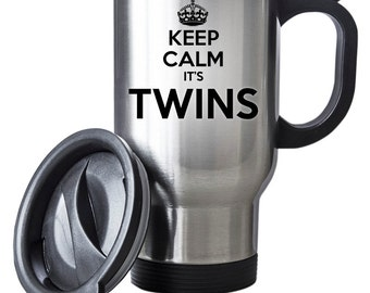 Keep Calm It's Twins Travel Mug Thermal Stainless Steel Gift Christmas Birthday Baby Thermal
