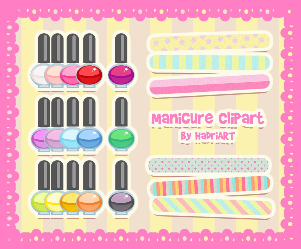 Nail Polish Clip Art. Manicure Clipart. Fashion by HadriART