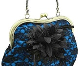 blue and black lace handbag, vintage style, purse bag, evening lace frame clutch bag, party womens lace clutch bag  with handle 0955-09