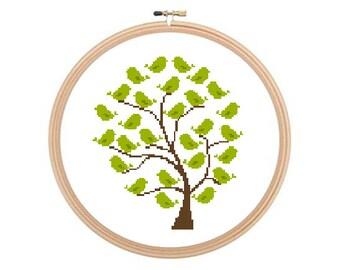 Tree With Birds - Cross stitch pattern, Tree Cross stitch, Birds Cross Stitch, Birds Pattern. Instant download.