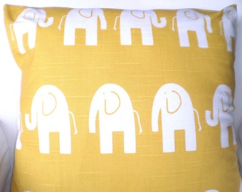 Yellow Elephant Pillow Cover, Nursery Pillow, Throw Pillow, Cushion Cover, Corn Yellow Cushion, Childrens Baby Pillow, One or More All Sizes