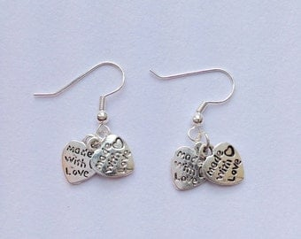 Silver Heart Earrings Made With Love  Valentine Love Birthday Gift Heart Earrings Love Earrings Loveheart Earrings Cupid Earrings