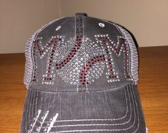 Baseball Mom Hat Cap Distressed Bling Rhinestone