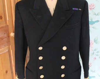 1950s naval double breasted wool jacket with colors and insignia by Gieves