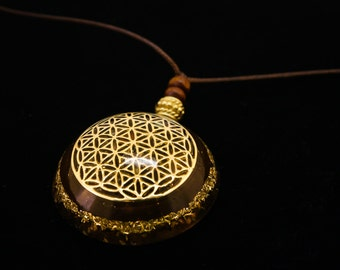 Orgonitess Flower of Life - with cristals for the 7 chakras - with metal symbol
