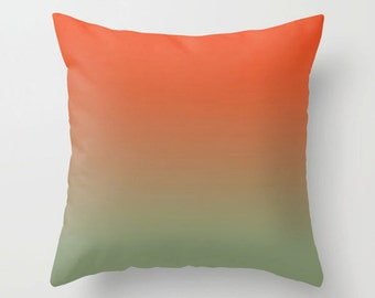 Couch pillow, orange green pillow, Decorative colorful throw pillow, modern home decor, accent cushion gift (736)
