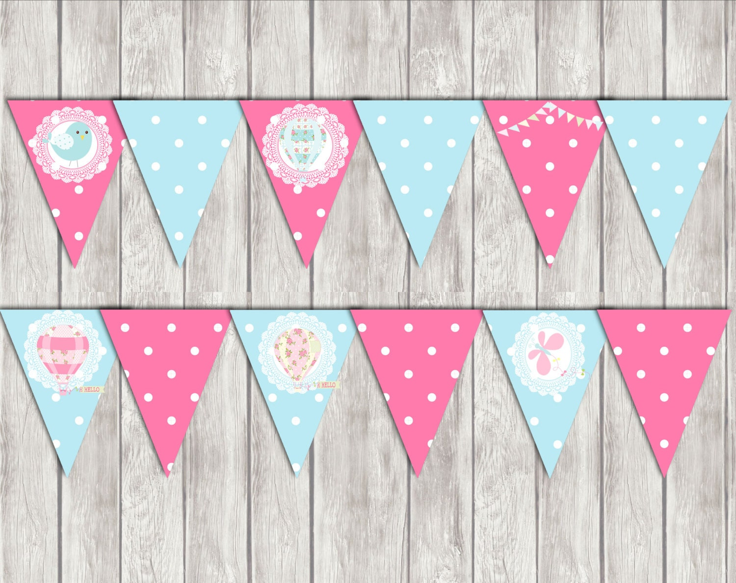 Hot air balloon banner flag printable banner party for Balloon banner decoration