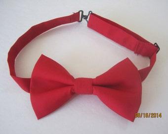 Red cotton bow tie, Men red bow tie, Baby boy  red bow tie, Clip on bow tie. red bow tie for boy, red bow tie for men, Adjuster bow tie