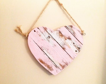 Rustic Valentine's Heart (Pink) from Reclaimed Wood