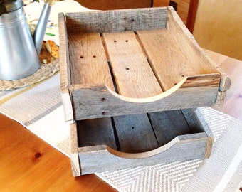 2 level rustic letter tray