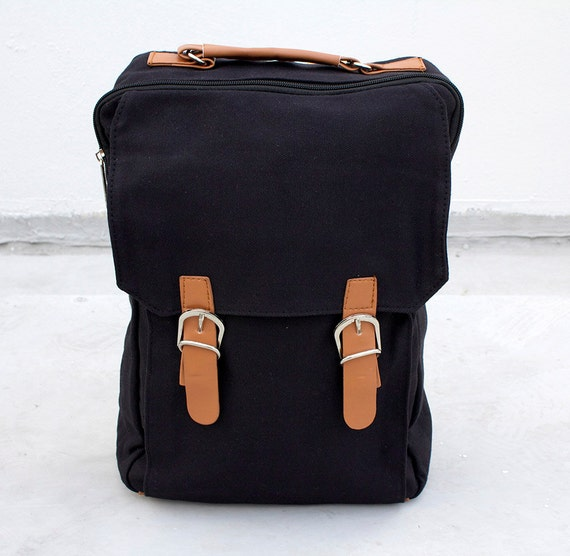 New Zealand Canvas backpack - Shoulder bag in black canvas - school ...