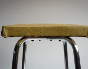 Mid century restored stool -  nice square seat eco-friendly leather covered