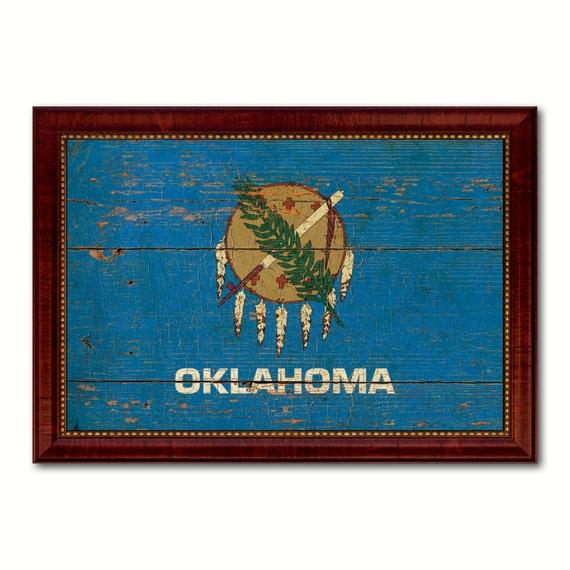 Oklahoma State Canvas Flag Custom Frame Rustic By