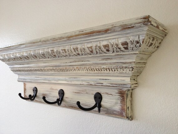 items similar to 24 shabby chic crown molding floating wall shelf with 3 hooks necklace holder. Black Bedroom Furniture Sets. Home Design Ideas