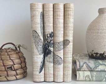 Decorative Book Set with Dragonfly Custom Covers, Dragonfly Book Decor with Custom Book Jackets, Neutral books with Dragonfly Design, Books