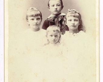 Four Children in Harrisburg Pennsylvania by J.D. Lemer 1890's Cabinet Photo