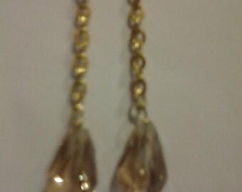 Long Champagne Tear Crystal Earrings
