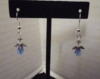 Angel Earrings, Handmade Clear and Blue Crystal Earrings, Wing Earrings