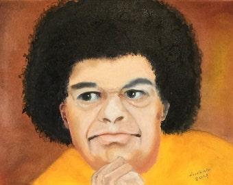 "SAI BABA handmade oil painting 16""x12"""
