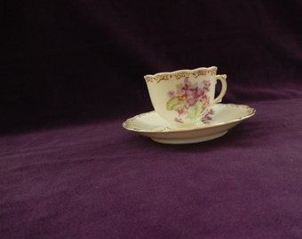 Vintage Hand Painted Cup and Saucer with violets and gold trim