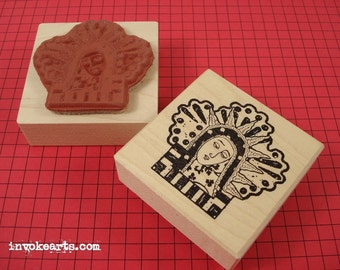 Nicho Guadalupe Stamp / Invoke Arts Collage Rubber Stamps