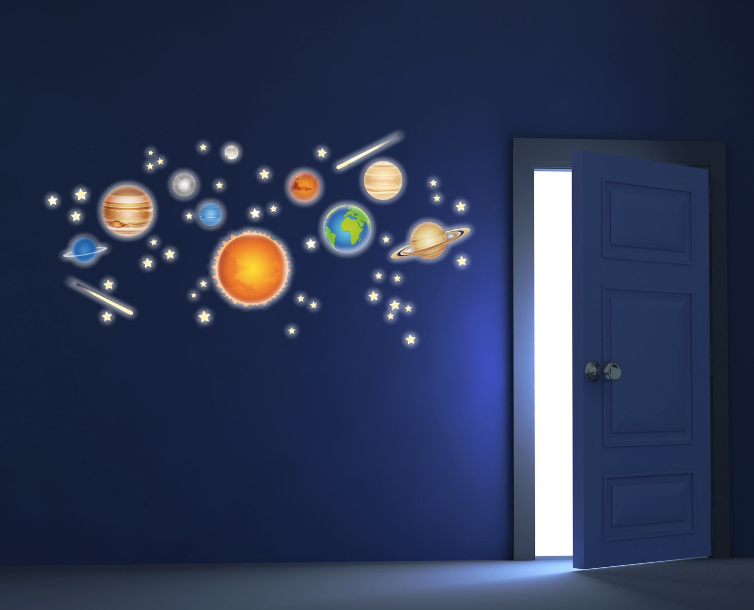 Planets solar system space wall decals fluo wall stickers - Wall stickers camerette ...