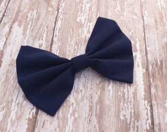 Solid Navy Blue Fabric Hair Bow Clip or Headband /Navy Blue Bow /Navy Blue Hair Bow /Navy Bow Clip /Solid Navy Blue Bow /Dark Blue Hair Bow
