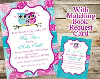 Owl Baby Shower Invitation and Book Request Card