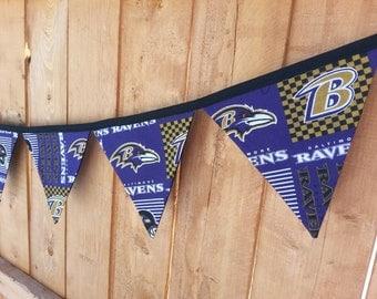 Handmade reusable Baltimore Ravens fabric banner