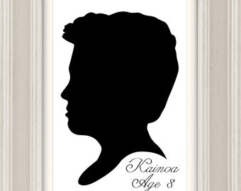 Custom Silhouette Portrait, Pets, Printable Downloadable Digital File, Made to order, Custom hand drawn from your photo, Wall Art, PNG, JPEG