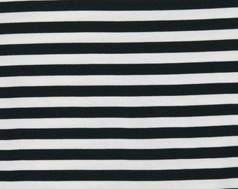 Knit  Black and White 1/2 inch Stripes Fabric 1 yard
