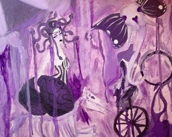 """French Lilac Freak Show 12""""X12 acrylic circus painting"""