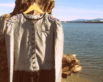 Mixed Media abstract Gypsy Gipsy Coat  /// size S//  traveller, roamer, wanderer, Bohemian, rover, rambler, nomad, vagrant, Romany, vagabond