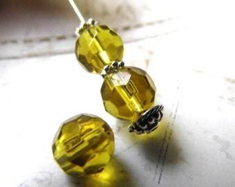 Elizabethan Vintage Yellow, Czech Beads, Beads, N1930