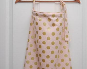 Pink Wire Nursing Cover/Light Pink and Gold Polka Dotted Nursing Cover/ Breastfeeding Cover/ Nursing Cover with Boning/ Baby Shower Gift