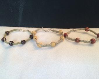 Tan hemp bracelet trio