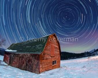 Historic Keene Barn Star Trails : An Adirondack NY Fine Art Photography Print 8x10