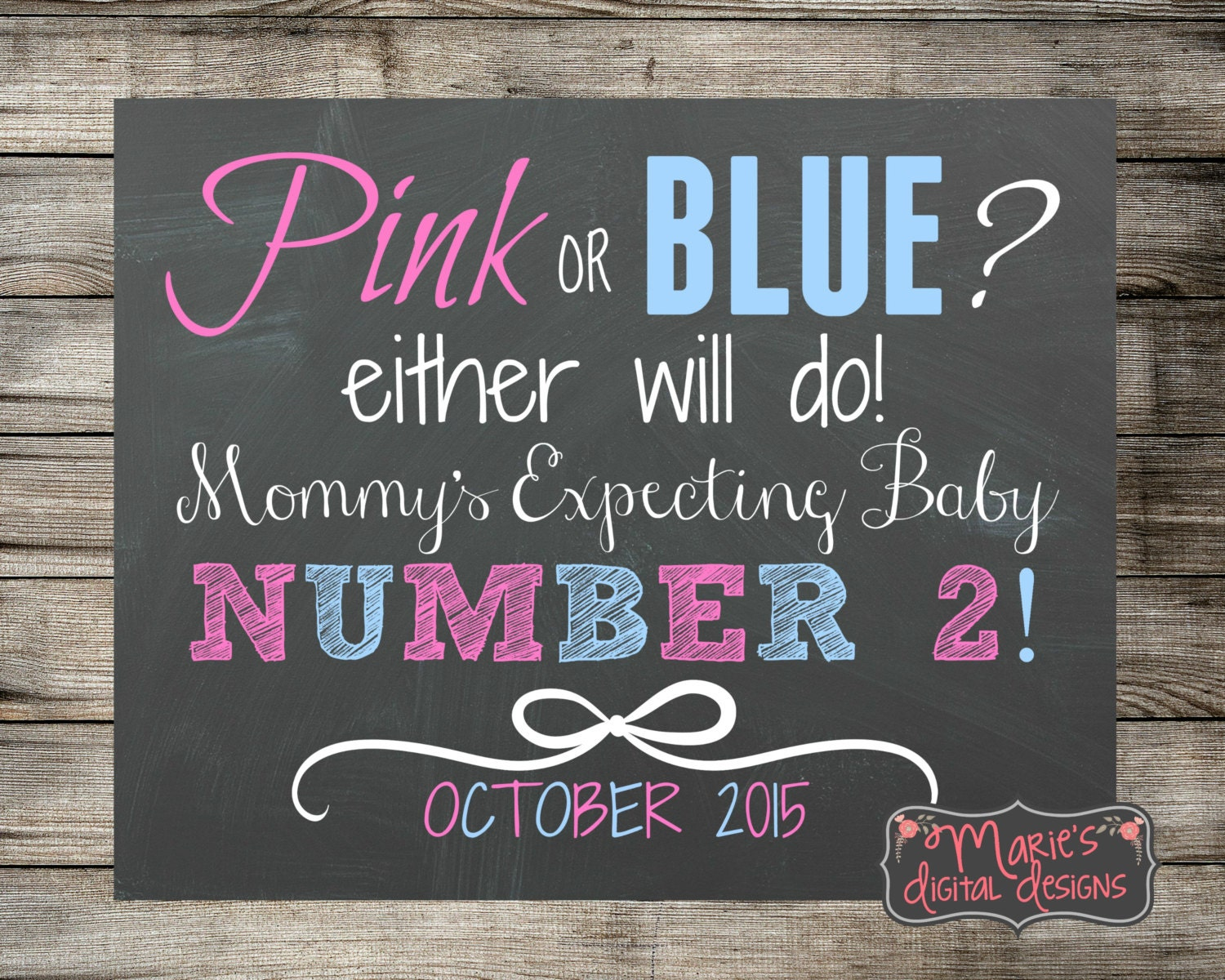 Printable Pregnancy Announcement Pink or Blue Photo Prop – Expecting Baby Announcement