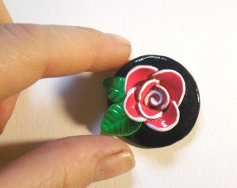pink rose brooch, polymer clay brooch, rose jewwelry, leaves brooch, flower jewelry, unique brooch, polymer clay brooch