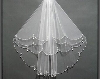 Two Tier Bridal Veil, Wedding Veil, Bridal Veil Fingertip, Short Bridal Veils, Bridal Veil Comb, Elbow Length Bridal Veils/ V017