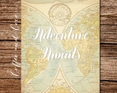 Adventure Awaits Poster, Printable Travel Wall Art, Printable Wall Art, Adventure Nursery,Travel Decor, Tan, Instant Download, coffeeandcoco