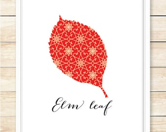 Beautiful Elm Leaf Printable, Christmas Poster, Christmas Decor, Printable Wall Art, Instant Download, Pattern, Holiday Decor, coffeeandcoco