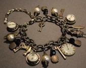 Vintage Typewriter Key Charm Bracelet - Antique Bronze. Gift for Writers. Steampunk. Upcycled.