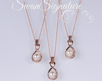 SALE 15% OFF SET of 5 Wedding Jewelry Bridesmaid Jewelry Bridal Necklaces Bridesmaid Swarovski Pearl Gold nst1