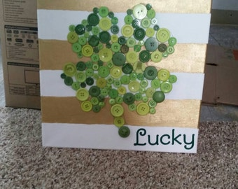 St Patrick's Day, 4 leaf clover, button art
