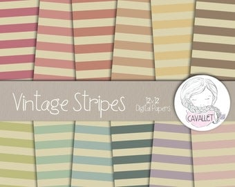 Vintage Stripe Digital Paper, Vintage Stripe Background